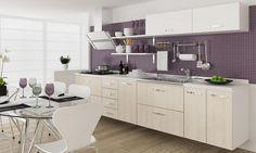 Cozinha Modulada 7 Módulos Branco/Carvalho - Completa