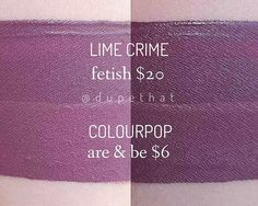 Okay, when first swatched, these two look NOTHING alike. Are & Be looks like it could maybe be in the same color family as Fetish, but much lighter. It was about 30 minutes into cleaning my house that I looked down at my hand and noticed the swatches were actually similar! So, note to all @colourpopcosmetics Are & Be buyers; Once you let this baby dry down completely, it will be a great alternative to Lime Crime's Fetish!  Who's excited for these new Colourpop shades to go live?!