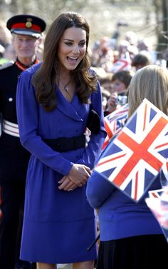 The Duchess of Cambridge in a blue Reiss belted dress