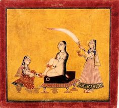 """A Lady at Her Toilette, Basohli style, Mankot, Jammu-Kashmir, India, c.1700. The Takri inscription on top has been read by Ohri as """"parimangalam"""" or """"pagamangalam,"""" meaning """"auspicious in every respect"""" or """"auspicious foot,"""" respectively. Since the kneeling maid is attending to the lady's foot and an anklet rests on the stool, the second reading is more relevant."""