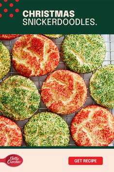 The holidays are meant for sweet treats, snickerdoodles and sharing — so don't forget to make a little mess to really make those memories last. This Christmas Snickerdoodles recipe is made of all the right stuff. They're topped with Betty Crocker decorations — the red ones and the green ones too. Call the kids to help you add color to the holidays, and when all is said and done, hang on to those priceless memories you made along the way. Best Christmas Desserts, Christmas Cooking, Christmas Foods, Christmas Candy, Holiday Cookies, Holiday Treats, Holiday Recipes, Christmas Cookie Exchange, Betty Crocker