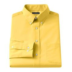 Croft and Barrow Fitted Solid Broadcloth Button-Down Collar Dress Shirt - Men