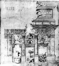 Drawing of the remains of the Basilica Emilia, at the Roman Forum, by Giuliano da Sangallo, 1480.