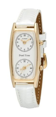 Gotham Women's Gold-Tone Dual Time Zone Leather Strap Watch # GWC15091GW Gotham. $49.95