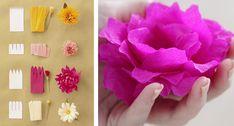 Crepe papier kopen – DIY in 2020 Paper Tags, Crepe Paper, Flower Decorations, Origami, Diys, Flowers, Crafts, Wedding, Greenery