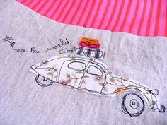 """Free motion stitched & fabric appliqued Citroën 2CV using a mix of vintage and new fabrics """"off to see the world"""" ~ so cute by Annabelle"""