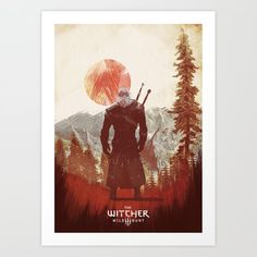 Witcher 3 wild hunt Art Print by iamloudness - X-Small Artwork Prints, Fine Art Prints, The Witcher Geralt, Ciri, Gaming Posters, Hunting Art, Witcher 3 Wild Hunt, Affordable Art, Gallery Wall