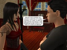 ZACH: I'm not even gonna tell Jason I saw you. It sucks though. I'll have to watch him suffer the whole time knowing you're livin' it up here at Courtley Manor.  #paranormal #psychics #hypnosis #memory #twilight #courtleymanor #gothic #sims #webcomic #sims2 #comics #vampire #soapopera