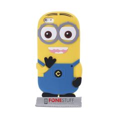 3D The Minion Movie Fun Cartoon Soft Silicone Gel Case Cover For Apple iPhone 5s 5 Light Blue with Front Clear HD Screen Protector