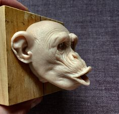 Wise Monkeys, Head Statue, Real Doll, Art Nouveau, Creature Design, Clay Art, Wood Carving, Wood Art, Sculpture Art