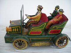 Prewar Japan Large Clockwork Tin Toy Green Umemoto Car 1910 1920