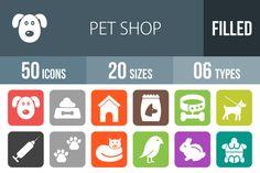 50 Pet Shop Flat Round Corner Icons @creativework247