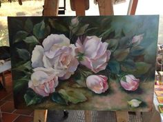 Arte Floral, Flower Canvas, Flower Art, Rose Oil Painting, Botanical Prints, Oeuvre D'art, Painting Inspiration, Art Pictures, Watercolor Art