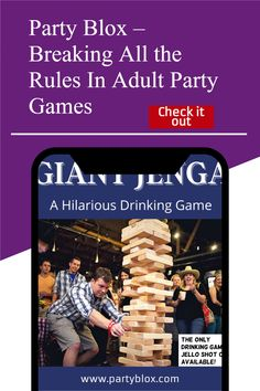 Largest Giant Drinking Game Available on the market! Similar to Drunk Jenga this game is popular at outdoor bars, backyard barbeques, camping trips, and anywhere people like to have fun. Jenga Drinking Game, Movie Drinking Games, Jenga Game, Outdoor Yard Games, Outdoor Bars, Drunk Jenga, Creating Games, Giant Jenga, Adult Party Games