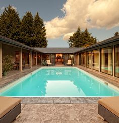 Contemporary U Shaped House Design Plans.  I would make this a courtyard instead of a pool.