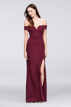 A V-wire sculpts a dramatic sweetheart neckline on the bodice of this glittery, stretch-knit sheath gown. Off-the-shoulder cuff sleeves keep the look totally on-trend.   By City Triangles  Polyester,