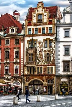 Old world architecture in Prague, Czech Republic.