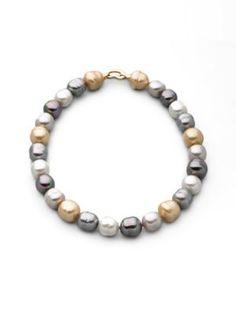 """MAJORICA 14MM Multicolor Baroque Pearl Necklace/17"""". #majorica #necklace/17"""""""