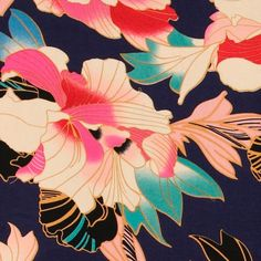 Woven viscose with japanese flowers