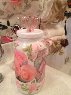 decoupaged jar with knob