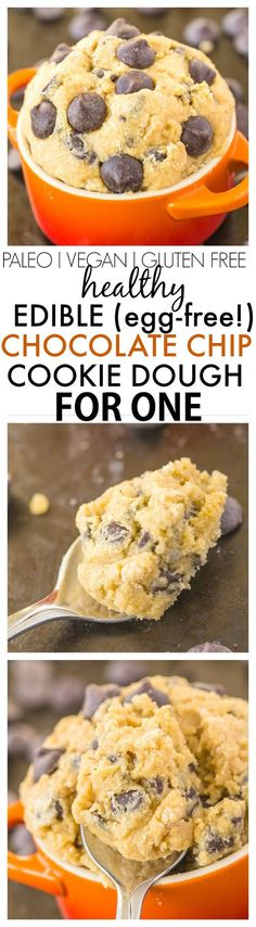 Healthy Classic Cookie Dough for One- Smooth creamy and a generous serving for ONE- It's secretly healthy and NO eggs butter or sugar! {vegan gluten free paleo options recipe}