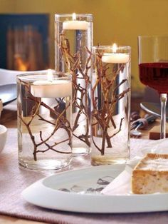 DIY Table decoration wedding floating candles branches cylinder vases Shopping For The Right Mattres Birthday Decorations, Wedding Decorations, Christmas Decorations, Holiday Decor, Birthday Ideas, Candle Decorations, Floating Candles Wedding, Diy Candles, Ideias Diy