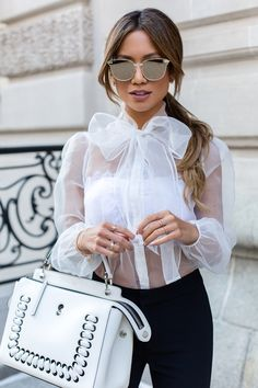 Lurelly Sheer Bow Blouse |  http://www.mywhitet.com/how-to-dress-like-a-lady-but-still-feel-sexy-too/