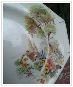 "J & G Meakin china plate ""Old England"" cottage garden trees oval dish serving platter 1920's -1930's."