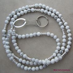 White howlite and silver lanyard for your ID badge, keys, transportation pass and more. Great for summer wear!