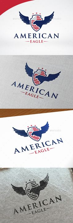 American Eagle Crest Logo by BossTwinsMusic - Three color version: color, greyscale and single color.- The logo is 100% resizable.- You can change text and colors very easy u