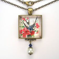 "BARN SWALLOW BIRD ART GLASS PEARL PENDANT BRASS NECKLACE ""VINTAGE CHARM"" JEWELRY"