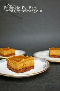Gluten-free vegan pumpkin pie cheesecake bars with gingerbread crust.