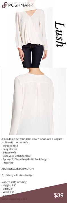 Lush draped front Top Ivory hi- lo blouse with draped front, long button cuff sleeves, pleated yolk back perfect for work or play, very flattering on, polyester Lush Tops Blouses