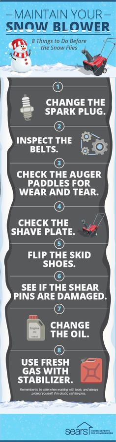 Are you ready for winter? Your snow blower should be. By performing some routine maintenance on your snow blower now, you can make sure that it won't break down on you when it counts. This snow blower maintenance checklist will help you make sure your blower is ready for this year's biggest snow storms. Visit the Sears Home Services blog for more tips and information.