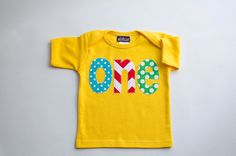 Primary Color Boys First Birthday Shirt Yellow Lap Tee by Aidille