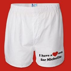 Personalized Men's Boxer Short - A Great Valentines Day gift for Him! mostly just pinning this cause it says my name which is always exciting