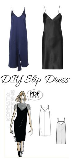 Slip dresses are so cool and easy to make. This PDF sewing pattern looks awesome. afflink