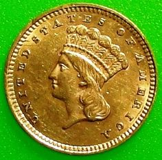1859 $1 United States of America Indian Princess Gold Dollar