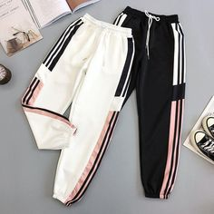 For Sale - 2019 New Black BF Style New Summer Streetwear Cool Girl Fashion Harajuku Hip Hop Pants Casual Pants Ankle Length Kpop Sweatpants Girls Fashion Clothes, Teen Fashion Outfits, Girl Fashion, Sporty Fashion, Mod Fashion, Clothes Women, Cute Sweatpants, Japanese Streetwear, Cute Casual Outfits