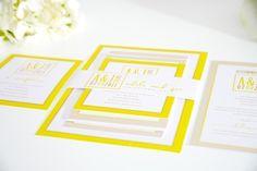 Our Modern Logo wedding invitation suite. Bright yellow wedding invitations by Shine Wedding Invitations. Yellow Wedding Invitations, Wedding Invitation Samples, Beautiful Wedding Invitations, Wedding Invitation Suite, Wedding Stationary, Wedding Programs, Invitation Design, Invitation Ideas, Invites