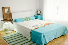 Bedroom, colourful, recovered pieces, cosy