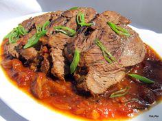 Nejedlé recepty: Hovězí přední pečené na rajčatech a pivu Stew, Food And Drink, Meat, Recipes, Label, Search, Beef, One Pot, Searching