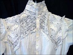 A beautiful white work (white embroidery) lawn dress, c. 1890