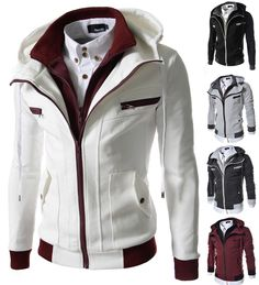 Men's Double Zip Up Hooded Jackets Casual Long Sleeved Hoodies Cotton Tops LCJ10