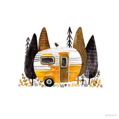 'Trailer Parking' by ghostpuff Watercolor Illustration, Watercolor Art, Painting Inspiration, Art Inspo, Unique Drawings, Guache, Happy Campers, Art Sketchbook, Art Images