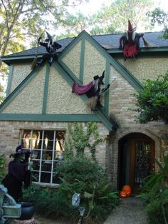 Witches placed randomly on and around your house! Great idea for Halloween decor.