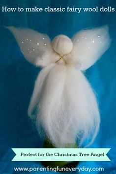 How To Make Fairy Wool Dolls: Christmas Angel No. 9 in the 30 days of Christmas Crafts Christmas Tree Angel, Christmas Makes, Christmas Crafts, Christmas Poinsettia, Crochet Christmas, Fairy Crafts, Felt Crafts, Holiday Crafts, Wool Dolls