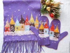Необычный подарок, Юлия Светлая, варежки с домиками, валяный шарф, зимний пейзаж, фиолетовый шарф, фиолетовые варежки, сиреневый шарф, сиреневые варежки, шарф с бахромой