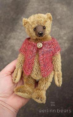 "Eliza , 7"" Miniature Brown Mohair Artist Teddy Bear from Aerlinn Bears"