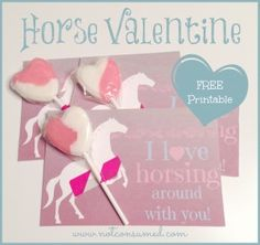 FREE horse valentine printable. My horse crazy daughter made these for her friends this year.